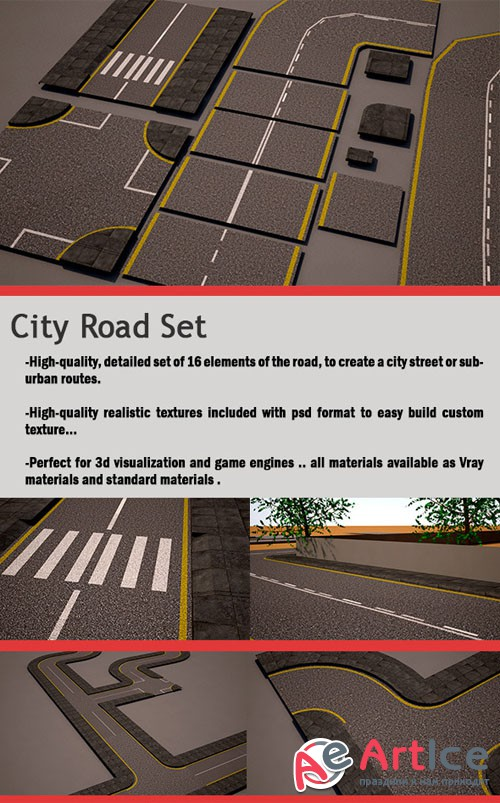 City Road Set (street pack) - 3docean 9695937