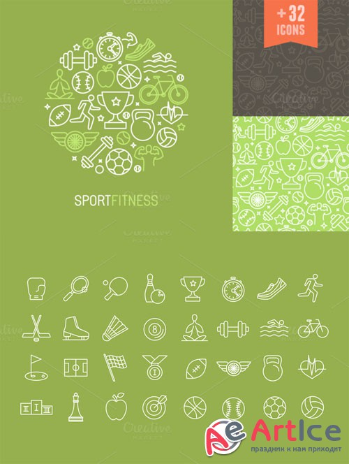 Creativemarket - Sport and fitness icons and patterns 213076