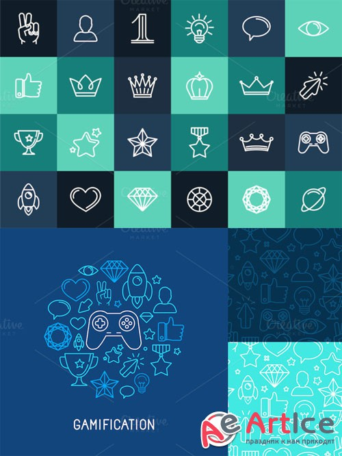 Creativemarket - 24 Linear Icons and seamless pattern 194268