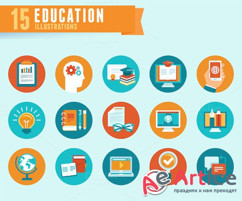 Education - flat icons - Creativemarket 194855