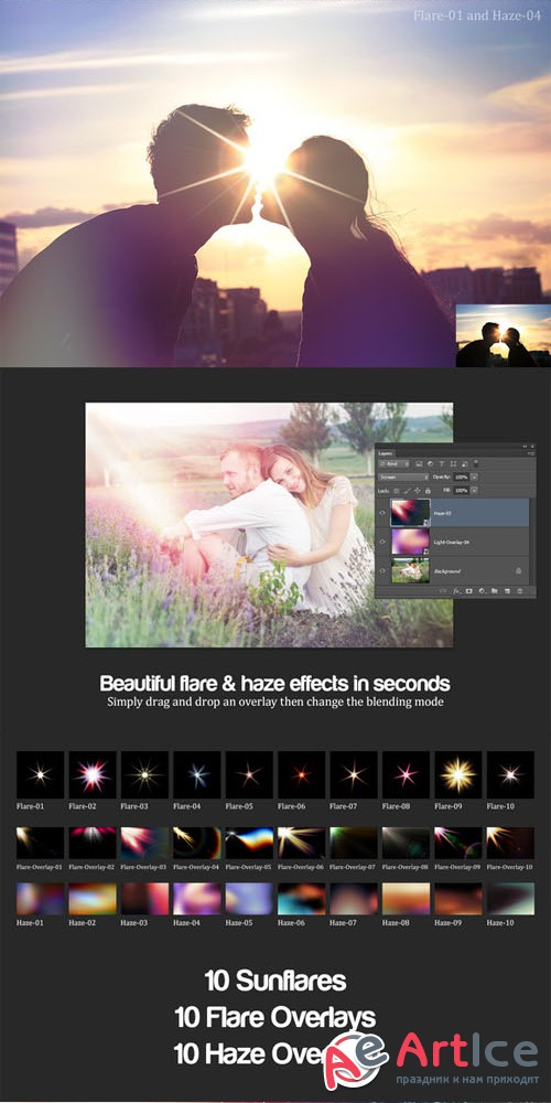 Flare & Haze: 30 Overlays for Photos - Creativemarket 16227