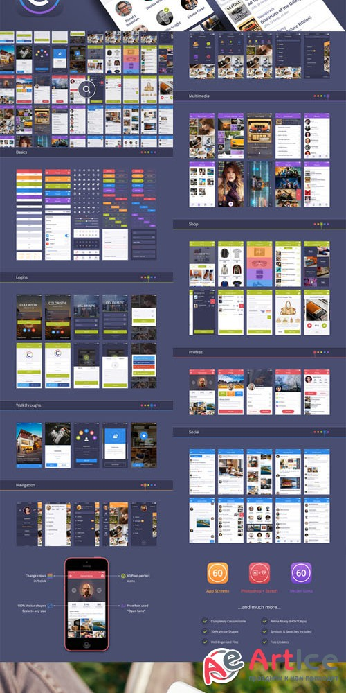 Coloristic: iOS / Android UI Kit - Creativemarket 90715