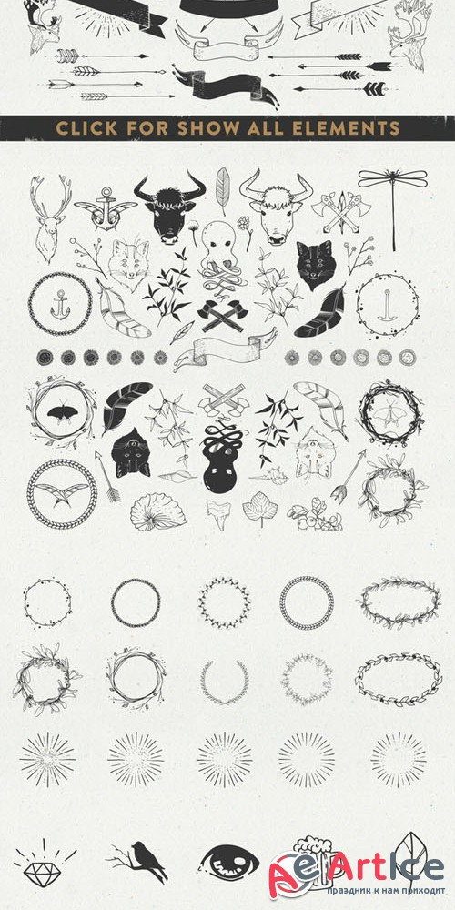 Sable Kit - hand drawn collection - Creativemarket 47469