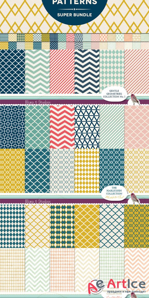 Creativemarket - 36 Handmade Geometry Patterns Bundle 48406
