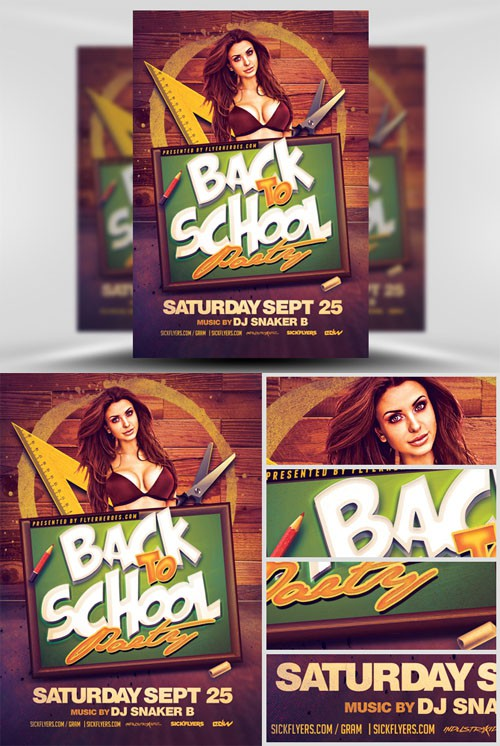 Flyer Template PSD - Back to School Party 3