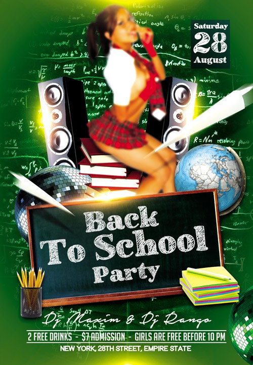 Flyer PSD Template - Back to School Party 2 + Facebook Cover