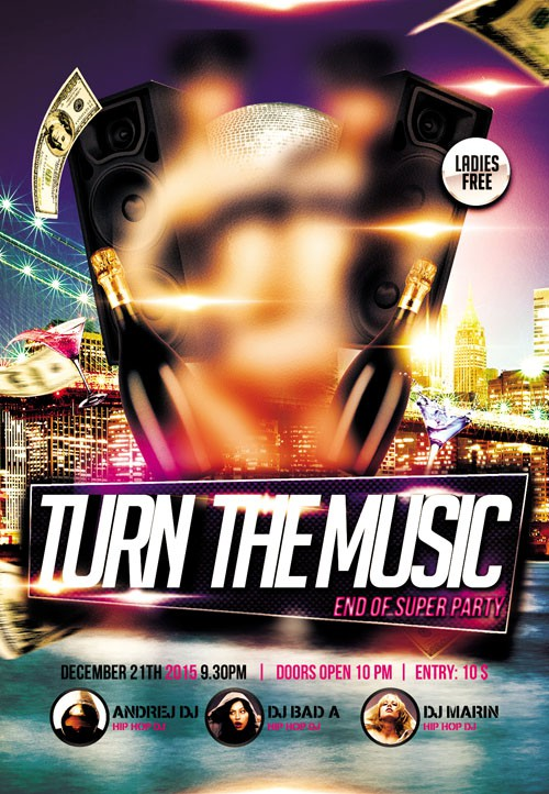 Flyer PSD Template - Turn The Music Up Party + Facebook Cover