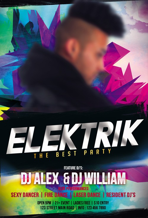 Flyer PSD Template - Dj Elektrik + Facebook Cover