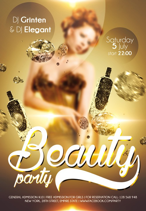 Flyer PSD Template - Beauty party + Facebook Cover