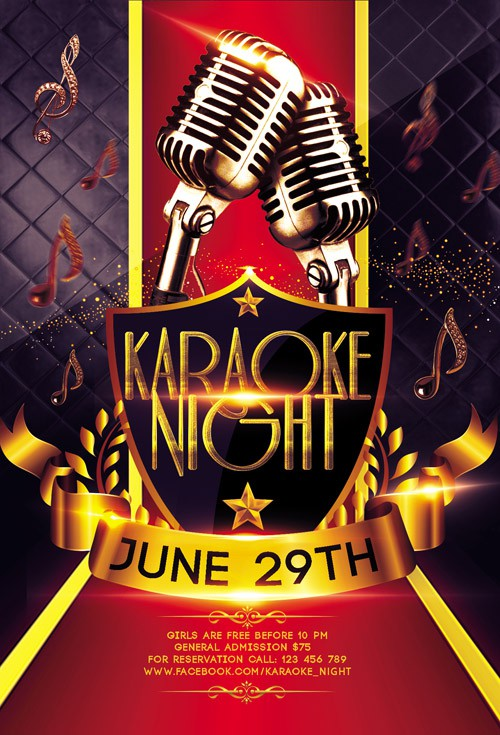 Flyer PSD Template - Karaoke + Facebook Cover