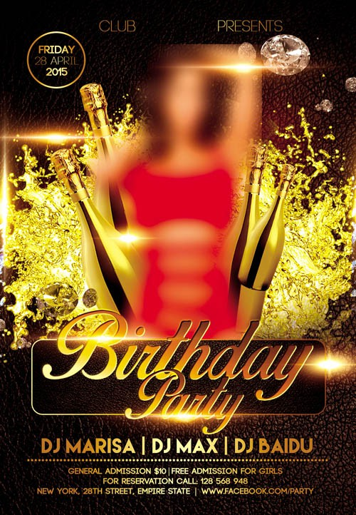 Flyer PSD Template - Birthday Party + Facebook Cover