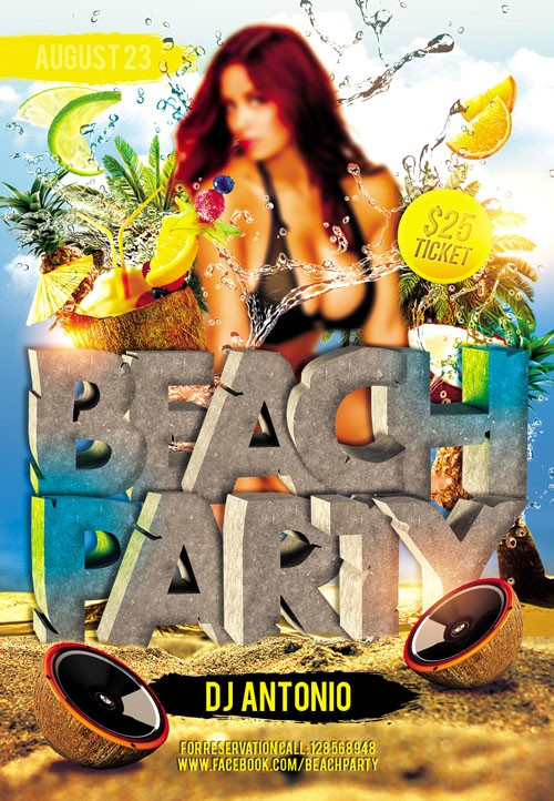 Flyer PSD Template - Beach Party 3 + Facebook Cover