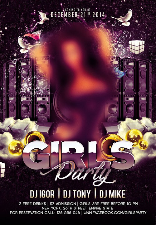 Flyer PSD Template - Girls Night + Facebook Cover
