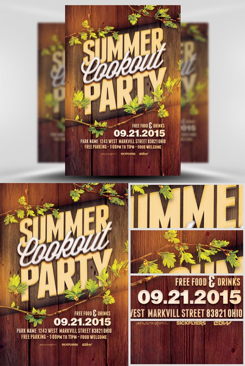 Flyer Template PSD - Summer Cookout Party