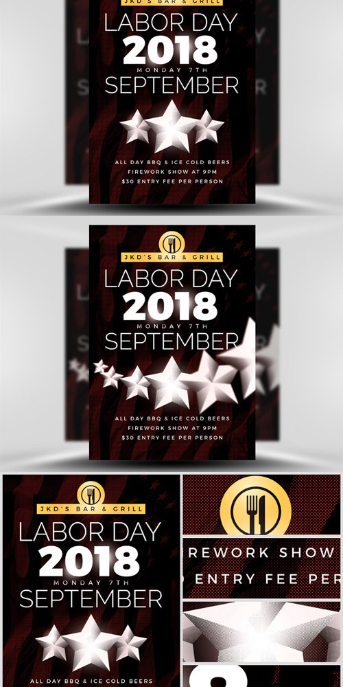 Flyer Template PSD - Simple Labor Day