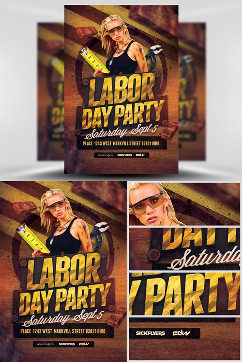 Flyer Template PSD - Labor Day Party 2