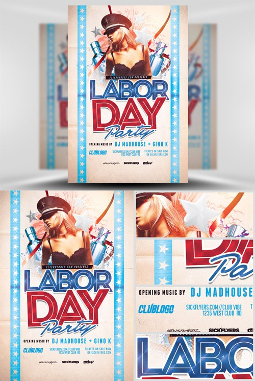 Flyer Template PSD - Labor Day Party 3