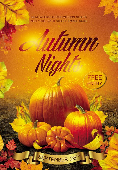 Club flyer PSD Template - Autumn Nights
