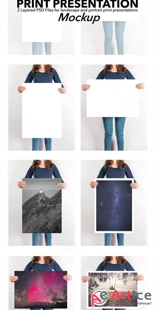 Creativemarket - Artwork Presentation Mockup Female 303723