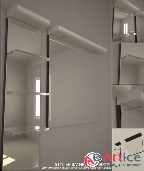 Stylish Bathroom Mirror Set + Complete Vray Setup - 3docean 4701734