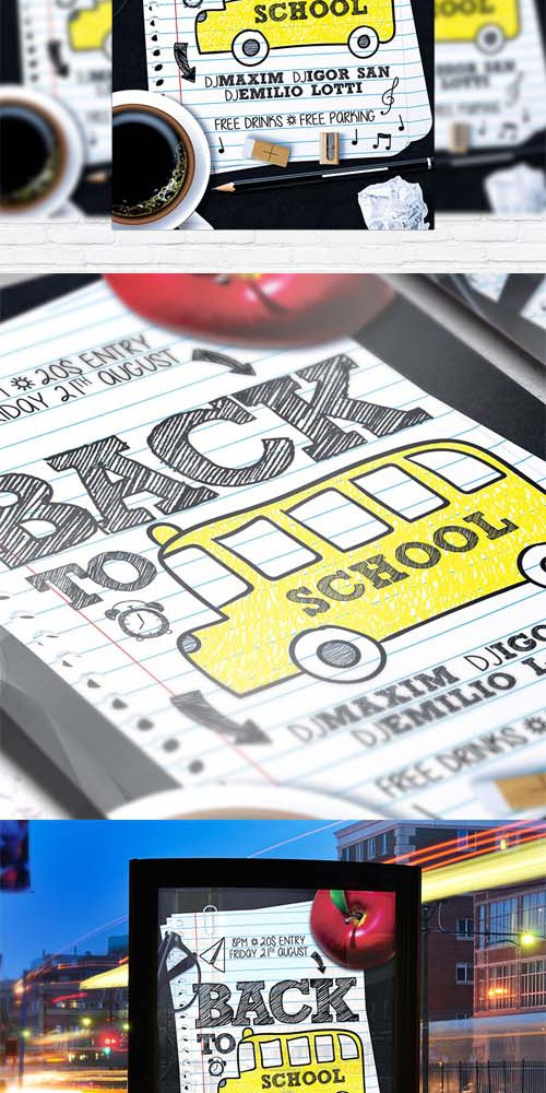 Flyer Template - Back to School vol 4 + Facebook Cover