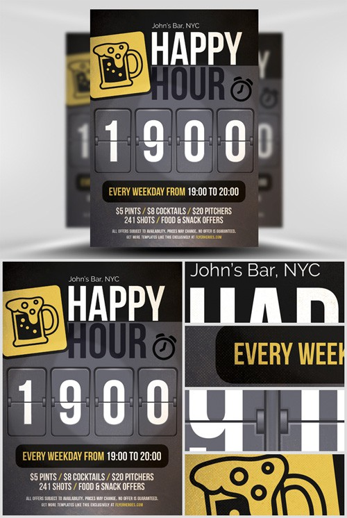 Flyer Template PSD - Happy Hour