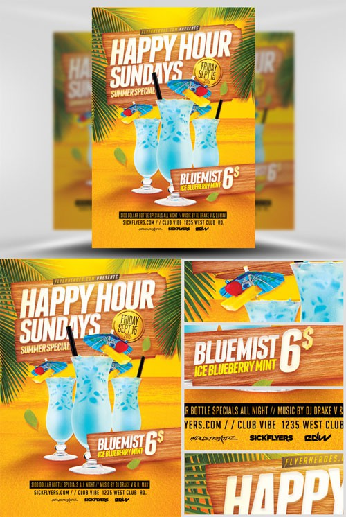 Flyer Template PSD - Summer Happy Hour