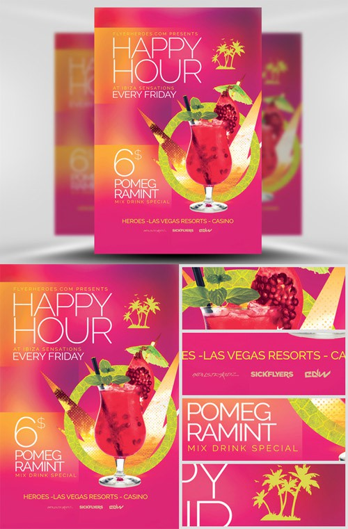 Flyer Template PSD - Minimal Happy Hour