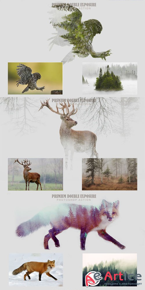 Double Exposure Photoshop Action - Creativemarket 278656