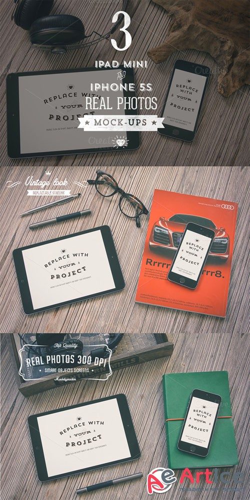3 Hip iPad & iPhone mock-ups - Creativemarket 39590