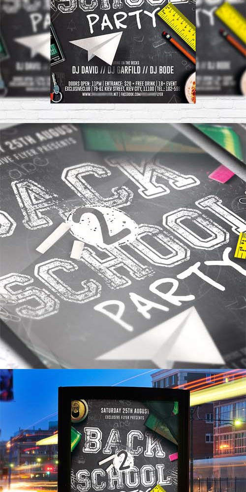 Flyer Template - Back to School Party vol 2 + Facebook Cover