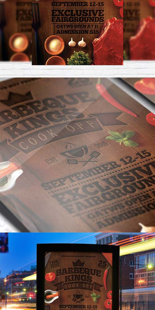 Flyer Template - Barbeque Kings + Facebook Cover
