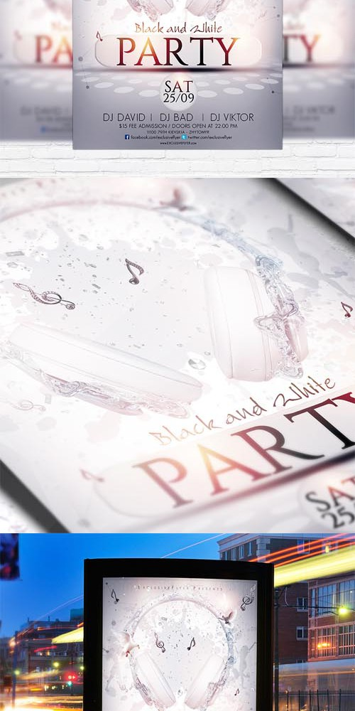 Flyer Template - Black and White Party + Facebook Cover