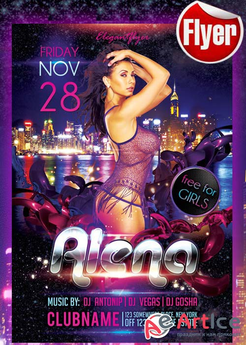 Guest DJ Party Alena Flyer Template