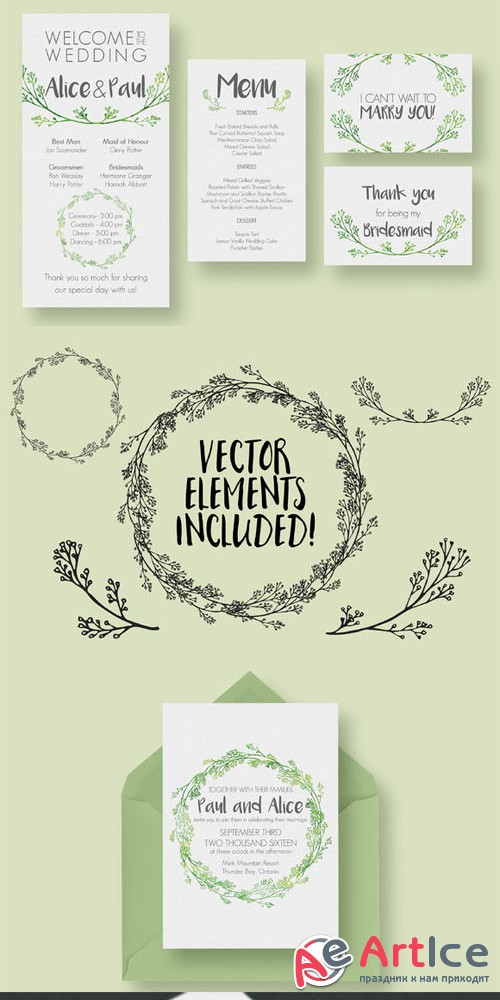 Creativemarket - Hip Wedding Invitation Suite 313959