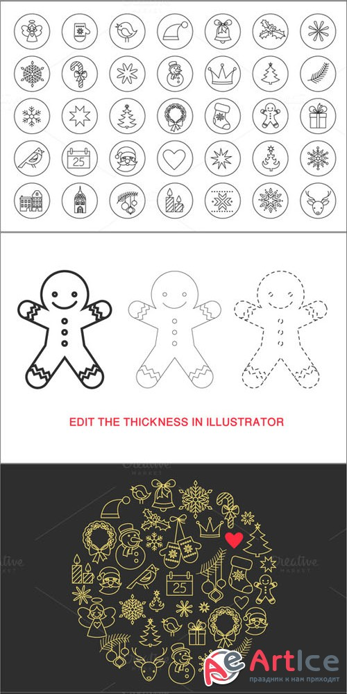 Creativemarket - Christmas Stroke Icons set 78930