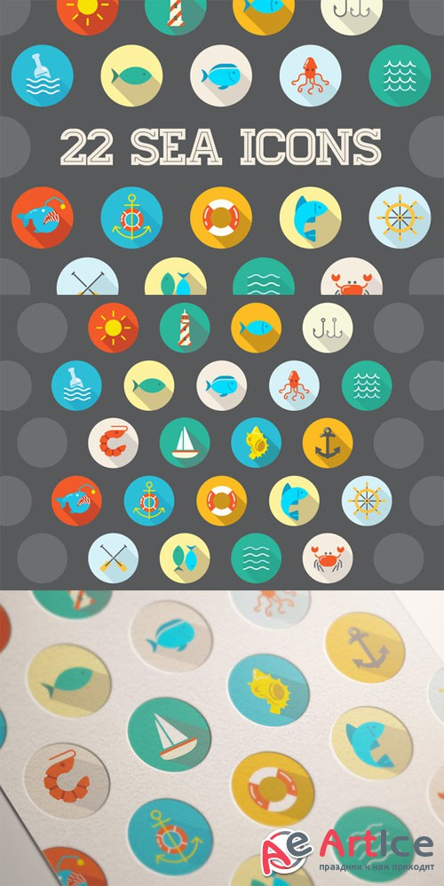 Creativemarket - Awesome 22 Flat Vector Sea Icons 201303