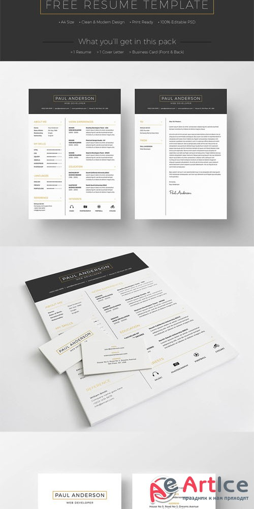 Clean and Modern Design Resume and Business Card Templates