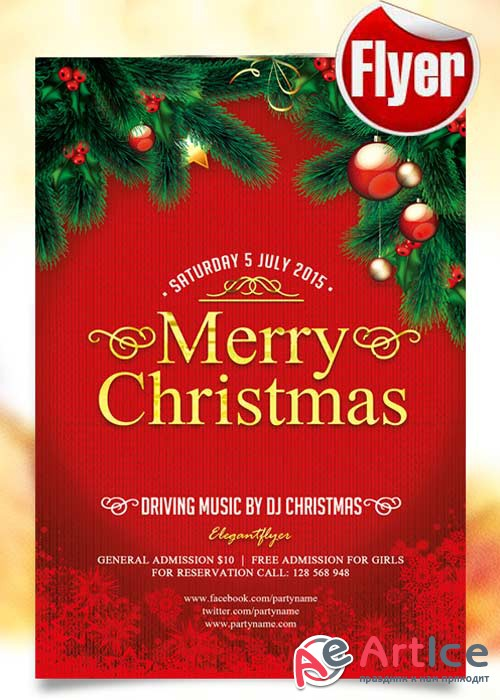 Merry Christmas Flyer Template + Facebook Cover