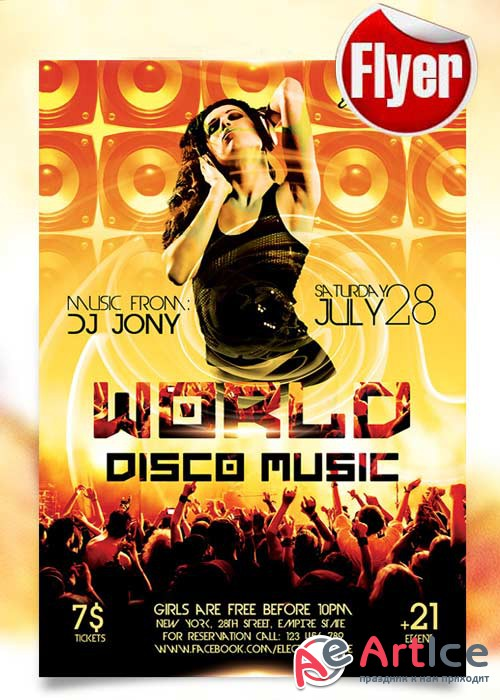 World Disco Music Flyer Template + Facebook Cover