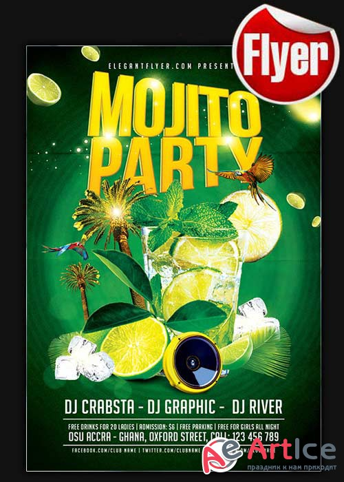 Mojito Ice Party Flyer Template + Facebook Cover