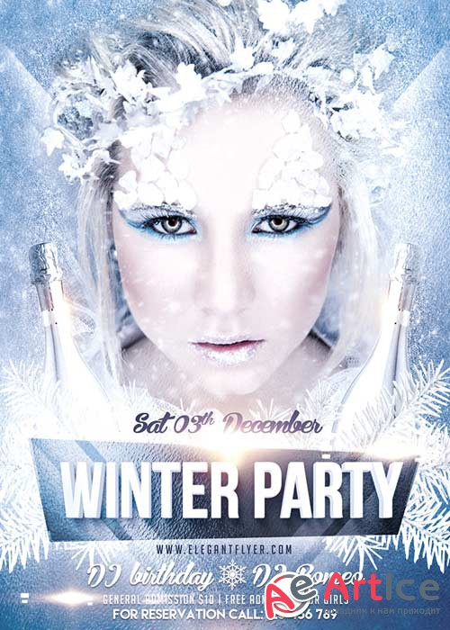 Winter Party 2 Flyer Template + Facebook Cover