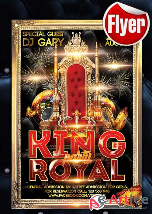 King Royal Party Flyer Template + Facebook Cover