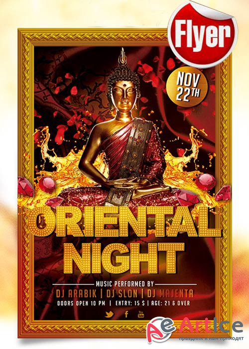 Oriental Night Flyer Template + Facebook Cover