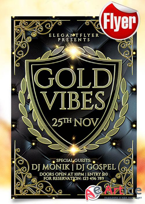 Gold Vibes Flyer Template + Facebook Cover