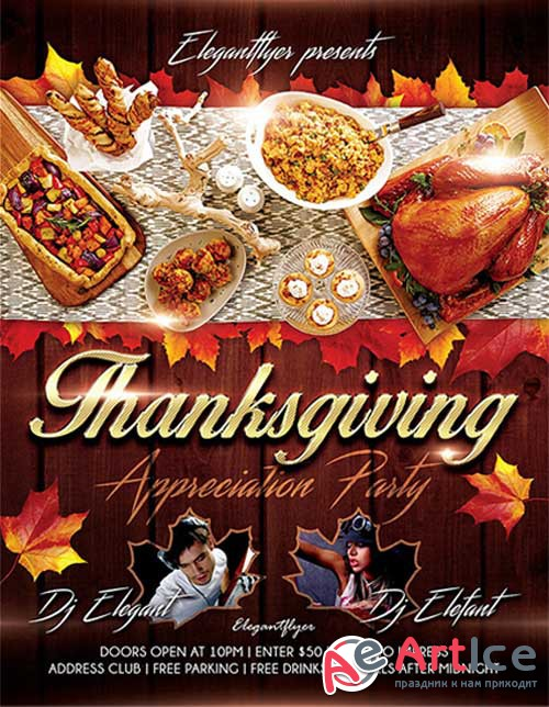 Thanksgiving Design V02 Flyer Template + Facebook Cover