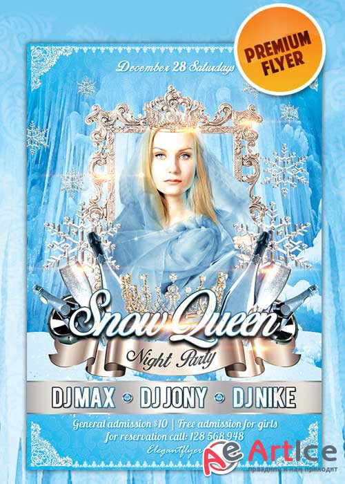 Snow Queen. Night Party flyer Template