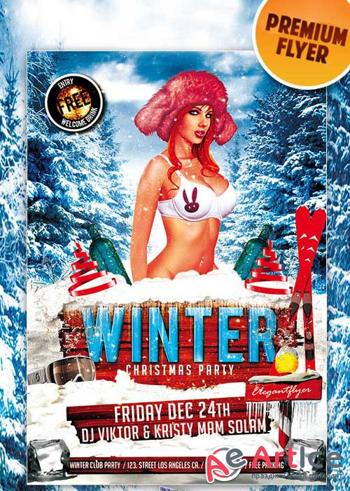 Winter Christmas Party flyer Template