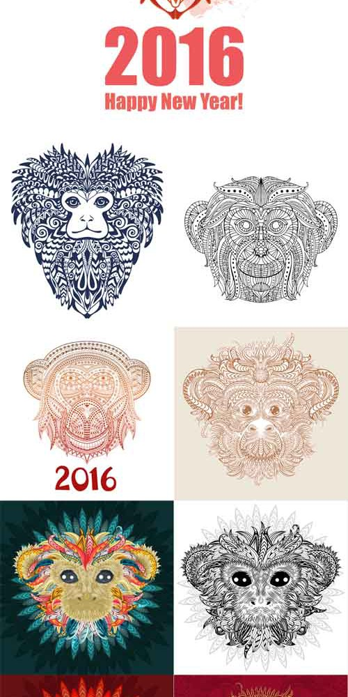 Vector Set - Ornamental monkey a symbol of NewYear 2016