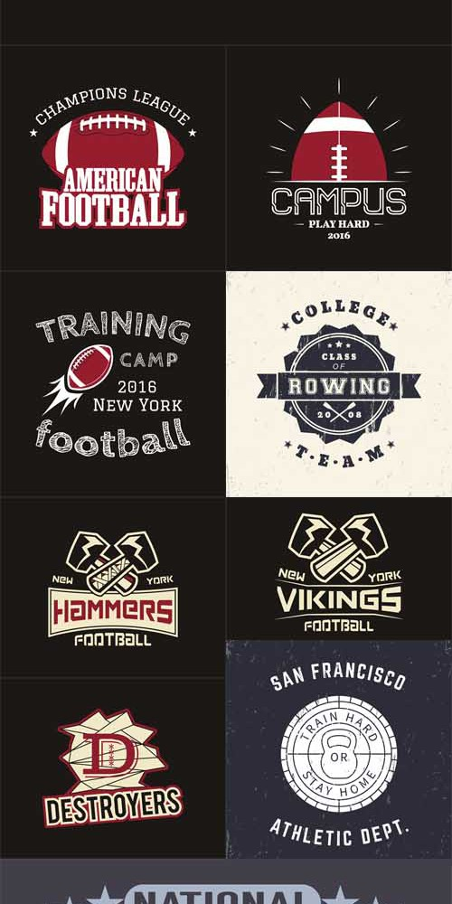 Vector Set - American football t-shirt print grunge signs